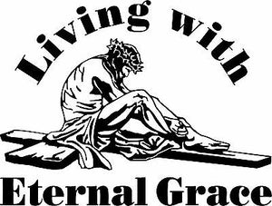 "Christian Jesus Christ Cross GOD Car Truck Window Laptop Vinyl Decal Sticker - 9"" Long Edge"