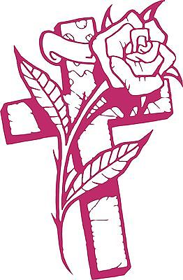 "Cross Rose Flower Christian Christ Car Truck Window Laptop Vinyl Decal Sticker - 12"" Long Edge"