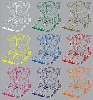 "Cowboy Cowgirl Boots Western Rodeo Car Truck Window Vinyl Decal Sticker - 12"" Long Edge"