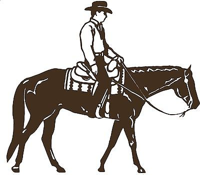 "Cowboy Riding Horse Rodeo Equestrian Car Truck Window Vinyl Decal Sticker - 11"" Long Edge"