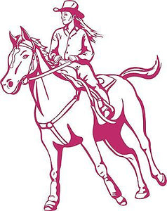 "Cowgirl Horse Rodeo Girl Farm Car Truck Window Wall Laptop Vinyl Decal Sticker - 7"" long edge"