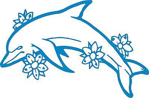 "Dolphin Flowers Ocean Fish Animal Car Truck Window Laptop Vinyl Decal Sticker - 12"" long edge"
