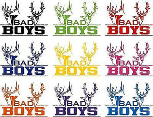 "Bad Boys Hunting Deer Buck Whitetail Car Boat Truck Window Vinyl Decal Sticker - 14"" Long Edge"