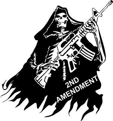"2nd Amendment Skull Grim Reaper Rifle Gun Car Truck Window Vinyl Decal Sticker - 14"" Long Edge"