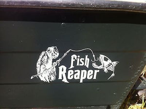 "Grim Reaper Skeleton Fish Fishing Rod Car Boat Truck Window Vinyl Decal Sticker - 12"" Long Edge"