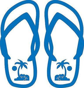 "Flip Flops Sun Palm Trees Sandals Car Truck Window Vinyl Decal Sticker - 12"" Long Edge"