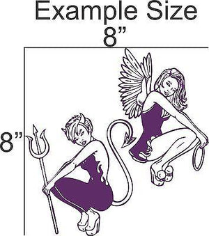 "Angel Devil Girls Car Truck Window Vinyl Decal Sticker - 13"" Long Edge"