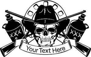 "Cowboy Skull Moonshine Gun Custom Name Text Car Truck Window Vinyl Decal Sticker - 19"" Wide"