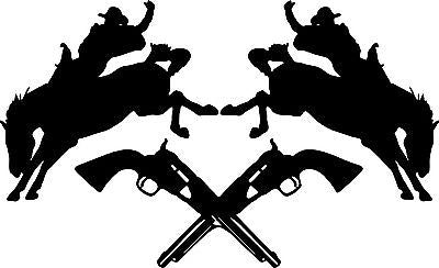 "Cowboy Bronco Horse Rodeo Guns Car Truck Window Laptop Vinyl Decal Sticker - 9"" Long Edge"
