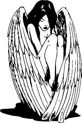 "Angel Fairy Wings Women Girl Car Truck Window Vinyl Decal Sticker - 14"" Long Edge"