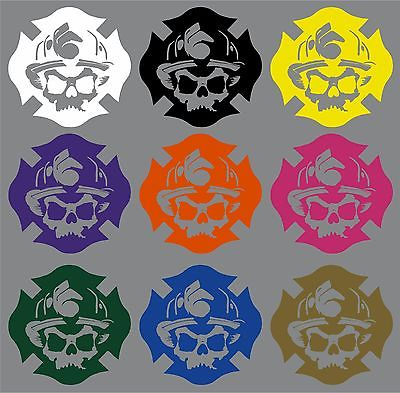 "Fireman Maltese Cross Firefighter Skull Car Truck Window Vinyl Decal Sticker - 6"" Long Edge"