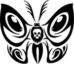 "Butterfly Tribal  Skull Truck Car Window Laptop Vinyl Decal Sticker - 11"" Long Edge"