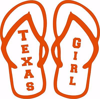 Texas Girl Flip Flops Sports Football Car Truck  Laptop Vinyl Decal Sticker - 9""