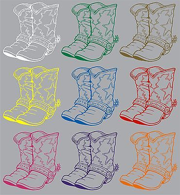 "Cowboy Cowgirl Boots Western Rodeo Car Truck Window Vinyl Decal Sticker - 8"" Long Edge"
