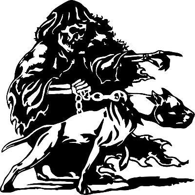 "Large Grim Reaper Pitbull Dog Chain Skull Car Truck Window Vinyl Decal Sticker - 21"" x 21"""