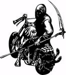 "Motorcycle Grim Reaper Bike Biker Car Truck Window Vinyl Decal Sticker - 9"" Long Edge"