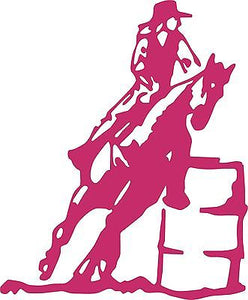 "Horse Barrel Racing Rodeo Cowboy Cowgirl Vinyl Decal sticker Car Truck Window - 14"" long edge"