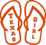 Texas Girl Flip Flops Sports Football Car Truck  Laptop Vinyl Decal Sticker - 6""