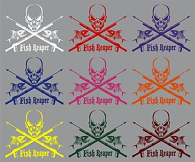"Fish Reaper Skull Skeleton Speargun Car Boat Truck Window Vinyl Decal Sticker - 10"" Long Edge"