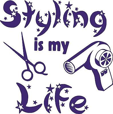 Hair Life Stylist Beauty Salon Shop Car Truck Window Wall Vinyl Decal Sticker - 5""