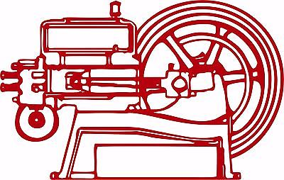 "Hit and Miss Engine Tractor Farm Equipment Car Truck Window Vinyl Decal Sticker - 28"" wide"