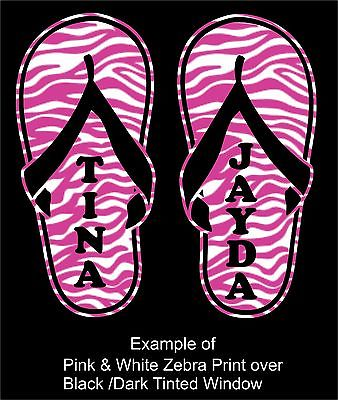 "Custom Name Zebra Print Flip Flops Car Truck Window Laptop Vinyl Decal Sticker - 7"" long edge"