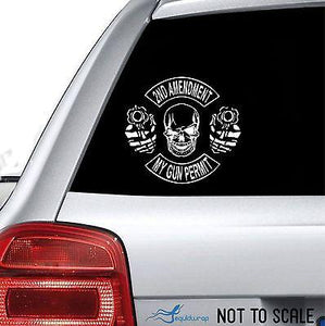 "2nd Amendment Skull Gun Permit Control Car Truck Window Vinyl Decal Sticker - 14"" Long Edge"