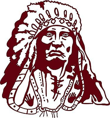 "Indian Native American Chief Western Car Truck Window Vinyl Decal Sticker - 8"" Long Edge"