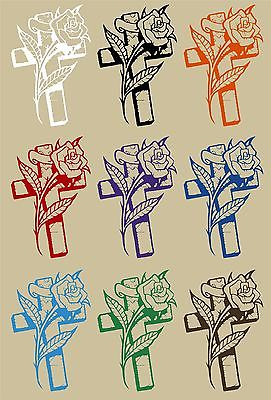"Cross Rose Flower Christian Christ Car Truck Window Laptop Vinyl Decal Sticker - 7"" Long Edge"