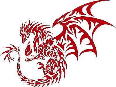"Dragon Tribal Mythical Creature Car Truck Window Laptop Vinyl Decal Sticker - 11"" long edge"