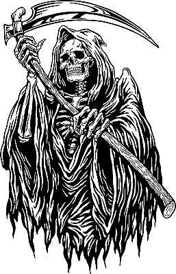 "Grim Reaper Monster Zombie Death Scythe Truck Window Wall Vinyl Decal Sticker - 15"" Long Edge"