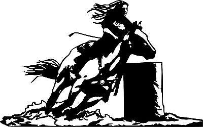 "Cowgirl Barrel Racing Horse Rodeo Car Truck Window Laptop Vinyl Decal Sticker - 14"" long edge"