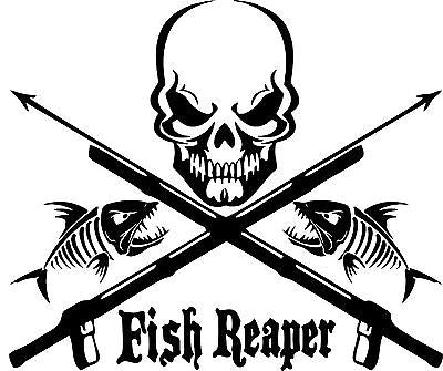 "Fish Reaper Skull Skeleton Speargun Car Boat Truck Window Vinyl Decal Sticker - 18"" Long Edge"