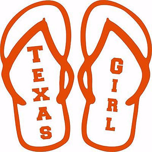 Texas Girl Flip Flops Sports Football Car Truck  Laptop Vinyl Decal Sticker - 8""