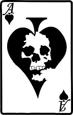 "Ace of Spades Playing Cards Skull Car Truck Window Laptop Vinyl Decal Sticker - 8"" Long Edge"