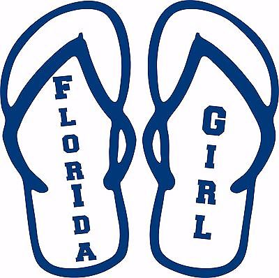 Florida Girl Flip Flops Sports Football Car Truck  Laptop Vinyl Decal Sticker - 8""