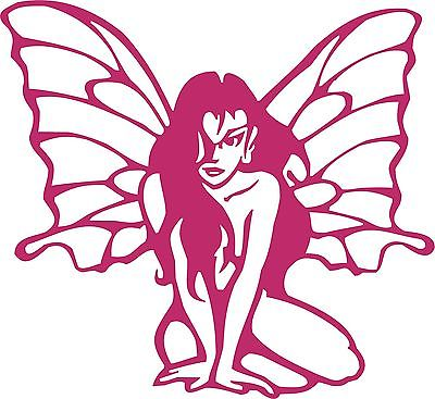 "Fairy Faerie Sitting Wings Hair Car Truck Window Laptop Vinyl Decal Sticker - 13"" long edge"