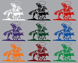"Cowboy Roping Calf Western Rodeo Bull Horse Car Truck Window Vinyl Decal - 10"" Long Edge"