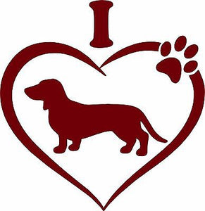 "Dachshund Pet Animal Wiener-Dog Heart Paw Car Truck Window Vinyl Decal Sticker - 12"" Long Edge"