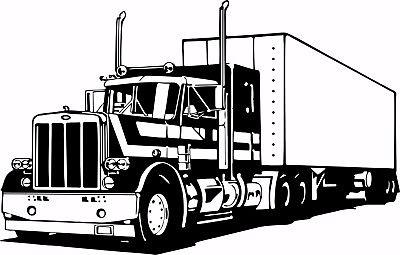 "18 Wheeler Semi Big Rig Trailer Car Truck Driver Window Vinyl Decal Sticker - 14"" Long Edge"