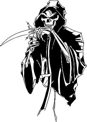 "Grim Reaper Skull Scythe Blade Knife Car Truck Window Vinyl Decal Sticker - 10"" Long Edge"