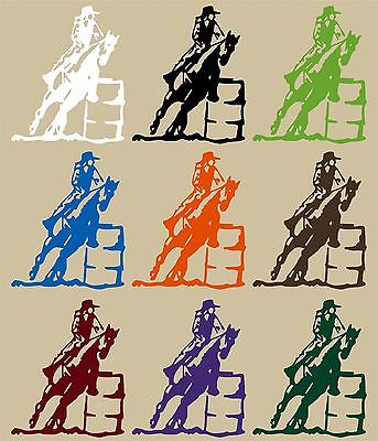 "Horse Barrel Racing Rodeo Cowboy Cowgirl Vinyl Decal sticker Car Truck Window - 9"" long edge"