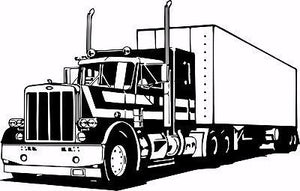 "18 Wheeler Semi Big Rig Trailer Car Truck Driver Window Vinyl Decal Sticker - 17"" Long Edge"