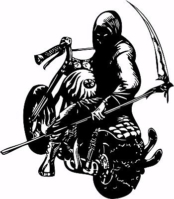 "Motorcycle Grim Reaper Bike Biker Car Truck Window Vinyl Decal Sticker - 12"" Long Edge"