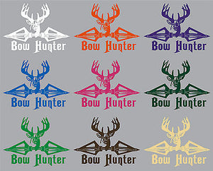 "Bow Hunter Hunting Deer Broadheads Arrow Car Truck Window Vinyl Decal Sticker - 13"" Long Edge"