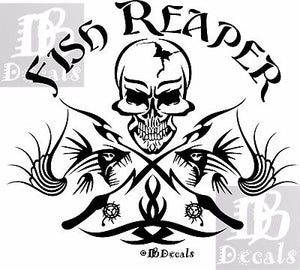 "Fish Reaper Skull Tribal Fishing Rod Car Boat Truck Window Vinyl Decal Sticker - 16"" Long Edge"