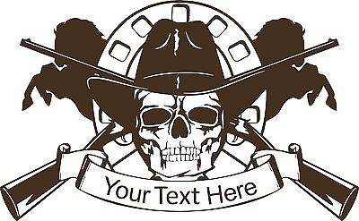 "Cowboy Skull Horse Gun Custom Name Car Truck Window Laptop Vinyl Decal Sticker - 16"" Long Edge"