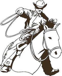 "Cowboy Horse Calf Roping Rodeo Western Car Truck Window Wall Vinyl Decal Sticker - 7"" long edge"