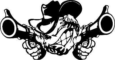 "Baseball Cowboy Guns Sports Rodeo Car Truck Window Laptop Vinyl Decal Sticker - 16"" Long Edge"