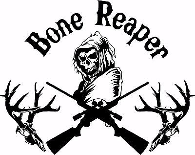"Bone Grim Reaper Gun Hunting Deer Skull Car Truck Window Vinyl Decal Sticker - 8"" Long Edge"